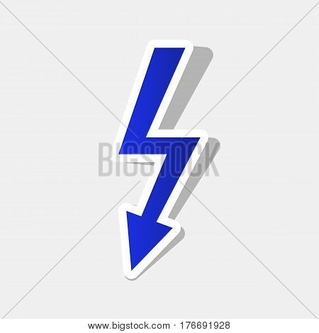 High voltage danger sign. Vector. New year bluish icon with outside stroke and gray shadow on light gray background.