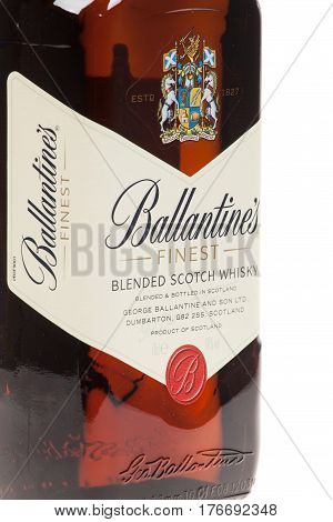 Varna Bulgaria - September 21 2016: Ballantines whisky isolated on white background. Ballantines is blended scotch whisky produced produced by Pernod Ricard in Dumbarton Scotland.