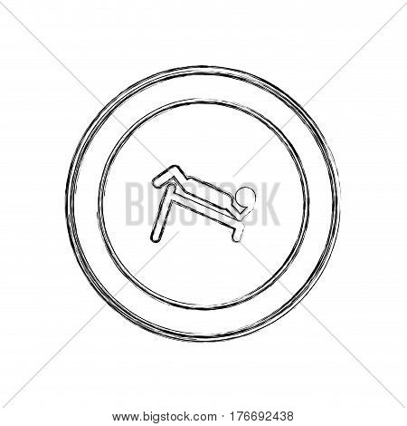 monochrome sketch of abdominal training on inclined bar in circular frame vector illustration