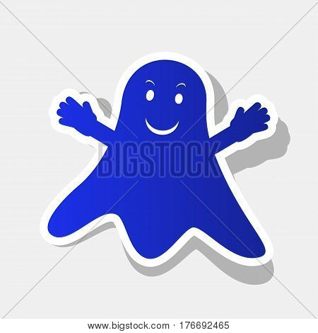 Ghost isolated sign. Vector. New year bluish icon with outside stroke and gray shadow on light gray background.