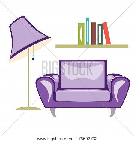 The armchair and floor lamp isolated on white background