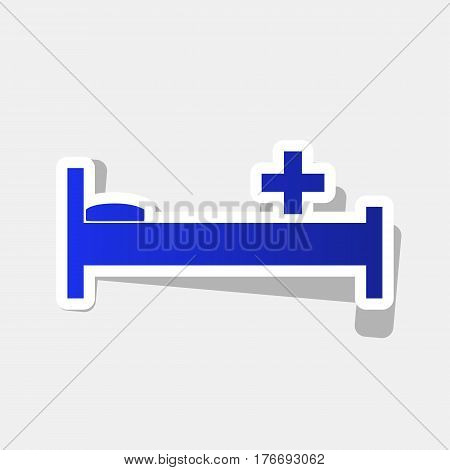 Hospital sign illustration. Vector. New year bluish icon with outside stroke and gray shadow on light gray background.