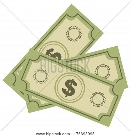 color silhouette with dollars bills vector illustration