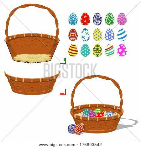 Basket part and and painted eggs. For creating your own easter basket