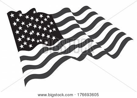 American flag vector usa culture grayscale national
