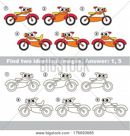 The design difference. Vector visual game for kid education. Simple level of difficulty. Easy educational game. Task and answer. Find two similar Motorcycles.