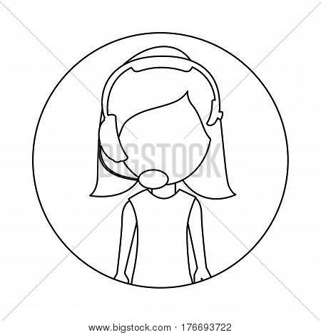 monochrome circular frame with woman call center vector illustration