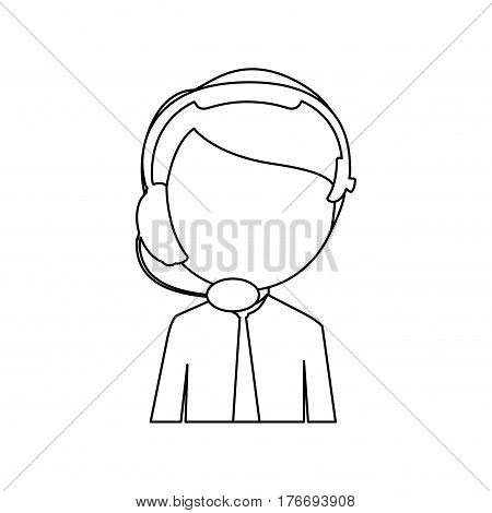 monochrome contour with half body man of call center vector illustration
