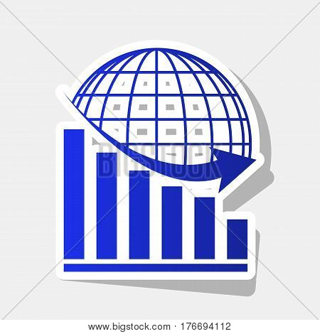 Declining graph with earth. Vector. New year bluish icon with outside stroke and gray shadow on light gray background.