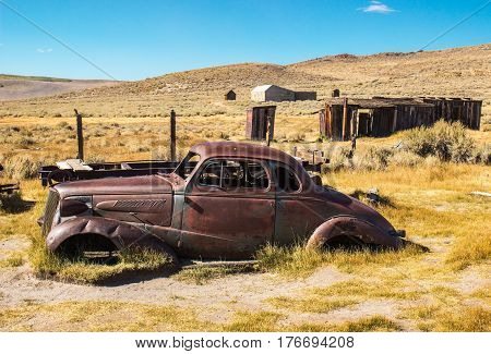 Old Abandoned Rusted Automobile Abandoned In California Ghost Town