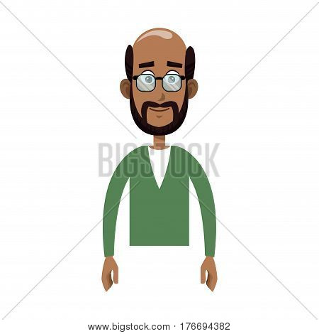 happy old man cartoon icon over white background. colorful design. vector illustration