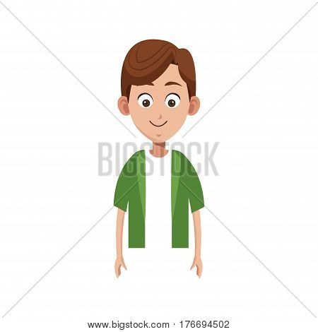 happy boy cartoon icon over white background. colorful design. vector illustration