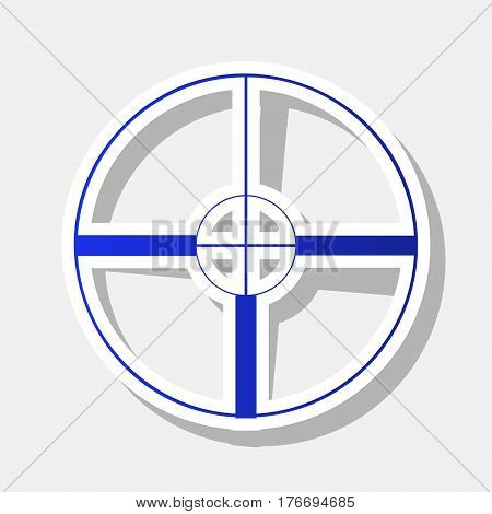 Sight sign illustration. Vector. New year bluish icon with outside stroke and gray shadow on light gray background.