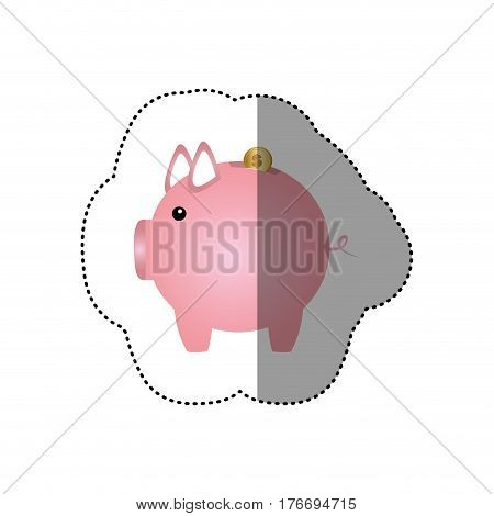 colorful silhouette sticker of money box in shape of piggy vector illustration