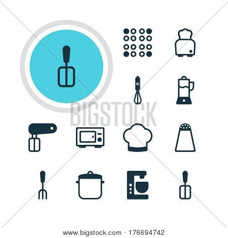 Vector Illustration Of 12 Kitchenware Icons. Editable Pack Of Chef Hat, Bread, Whisk And Other Elements.