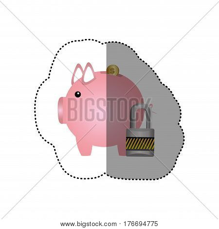 colorful silhouette sticker of money box in shape of piggy and padlock vector illustration