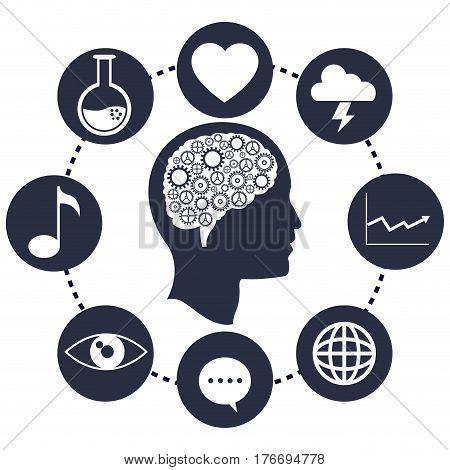 head brain gears progress network vector illustration eps 10