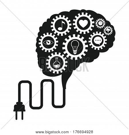 brain technology gears social media vector illustration eps 10