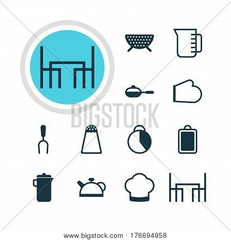 Vector Illustration Of 12 Cooking Icons. Editable Pack Of Teakettle, Oven Mitts, Timekeeper And Other Elements.