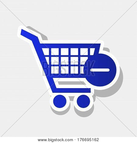 Vector Shopping Cart with Remove sign. Vector. New year bluish icon with outside stroke and gray shadow on light gray background.