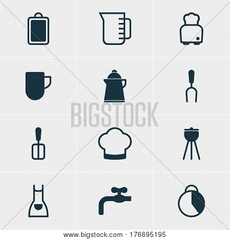 Vector Illustration Of 12 Cooking Icons. Editable Pack Of Barbecue Tool, Cooking Spade, Barbecue And Other Elements.