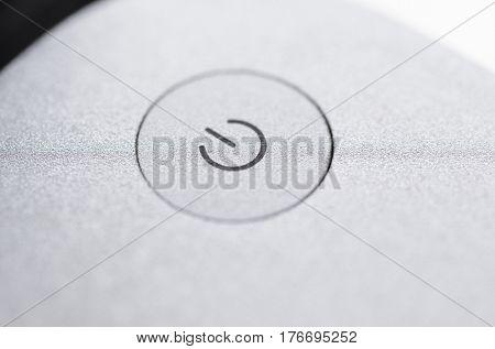 Modern laptop computer, close-up view of power button