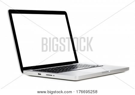 Modern laptop computer with blank screen isolated on white background