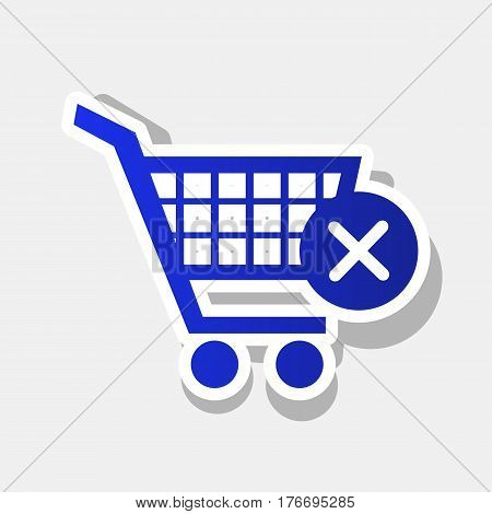 Shopping Cart with delete sign. Vector. New year bluish icon with outside stroke and gray shadow on light gray background.