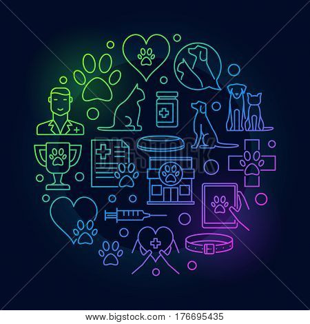 Pet Care veterinary illustration. Vector round colorful vet pet sign in thin line style on dark background