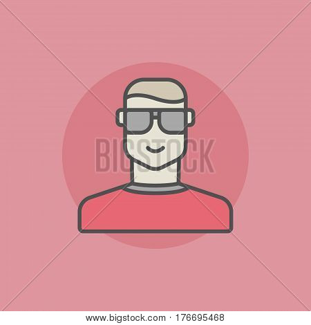Poker player icon. Vector player in sunglasses flat sign