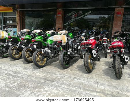 SALAYA, NAKHONPHATHOM, THAILAND-March 17, 2017. New motobikes and motocycles for sale.