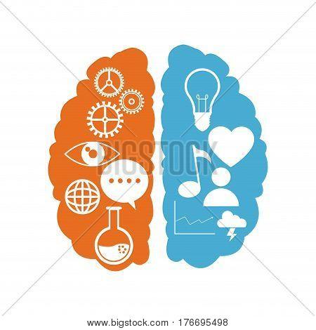brain left right functions learn vector illustration eps 10