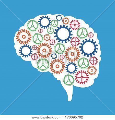brain gears cooperation solution vector illustration eps 10