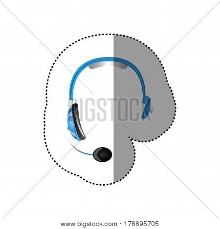 color sticker of hands free headset icon vector illustration