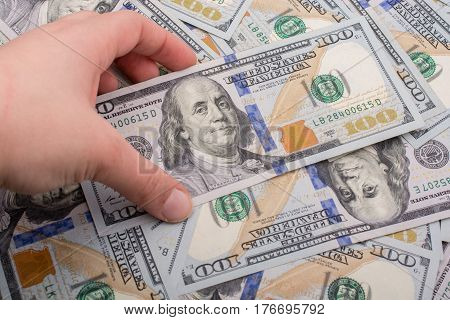 Banknotes Of Us Dollar Spread Around