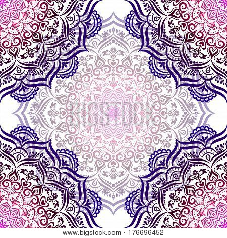 Hand-drawn seamless mandala. Retro pattern can be used for wallpaper, pattern fills, web page background, surface textures - stock vector.