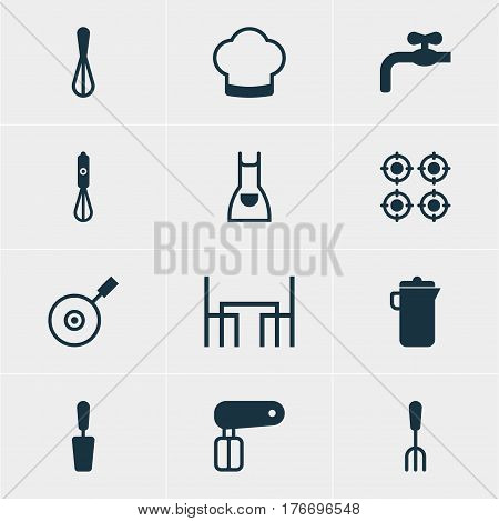 Vector Illustration Of 12 Kitchenware Icons. Editable Pack Of Furnace, Dinner Table, Chef Hat And Other Elements.