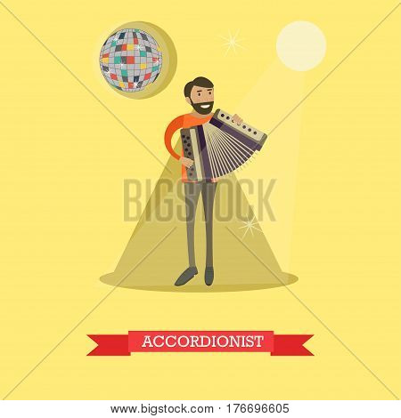 Vector flat illustration of musician male playing accordion. Accordionist flat style design element.