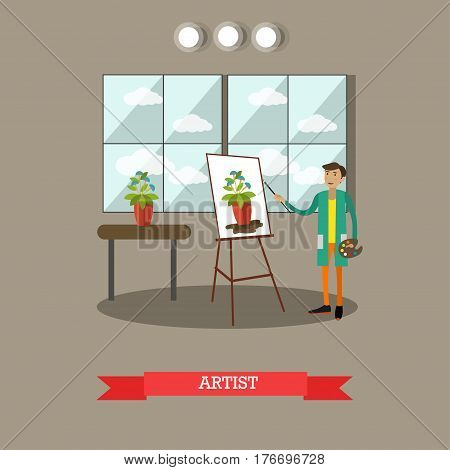 Vector illustration of painter young man drawing flower from nature with paintbrush. Artist flat style design element.
