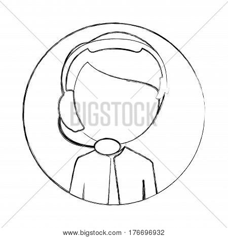 monochrome sketch of circular frame with man call center vector illustration