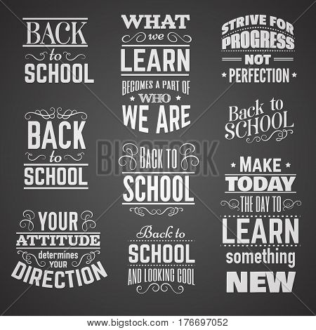 Collection of quote typographical background about school and education made in vintage style. Vector template for card banner poster t-shirt sweatshirt bag.