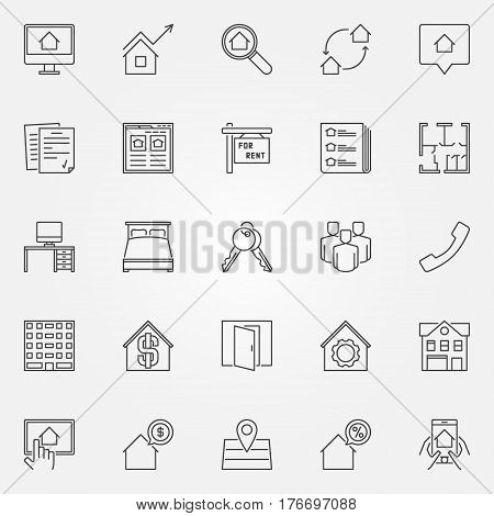 Rent icons set - vector real estate thin line concept symbols or design elements