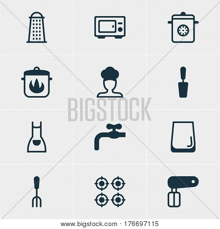 Vector Illustration Of 12 Kitchenware Icons. Editable Pack Of Fork, Stewpot, Glass Cup And Other Elements.