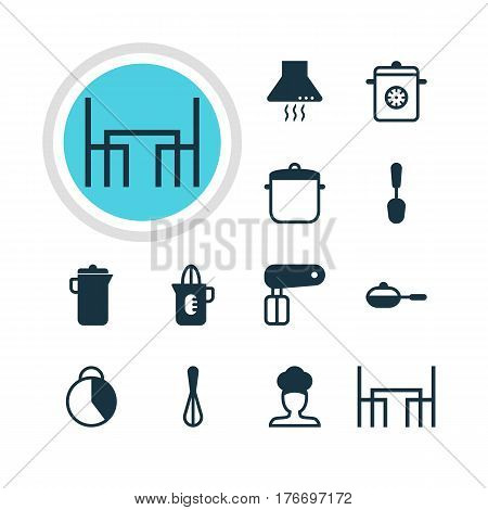 Vector Illustration Of 12 Restaurant Icons. Editable Pack Of Pan, Cook, Timekeeper And Other Elements.