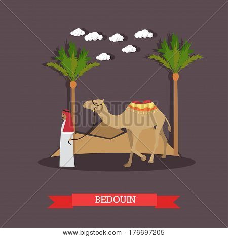 Vector illustration of arab bedouin wearing traditional clothing and camel. Trip to Egypt concept flat style design element.