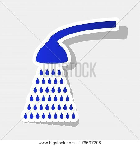 Shower simple sign. Vector. New year bluish icon with outside stroke and gray shadow on light gray background.