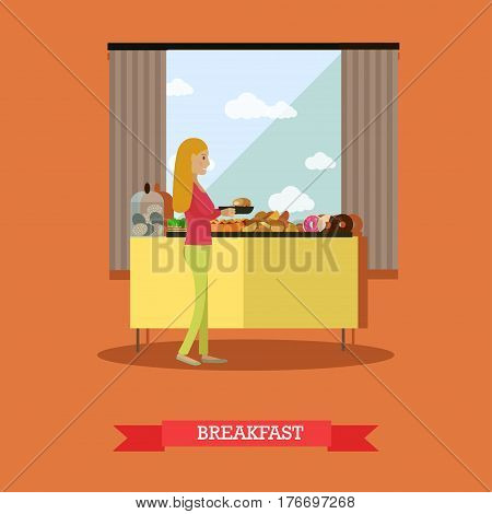Buffet breakfast vector illustration. Trip to Egypt, hotel restaurant services concept flat style design element.