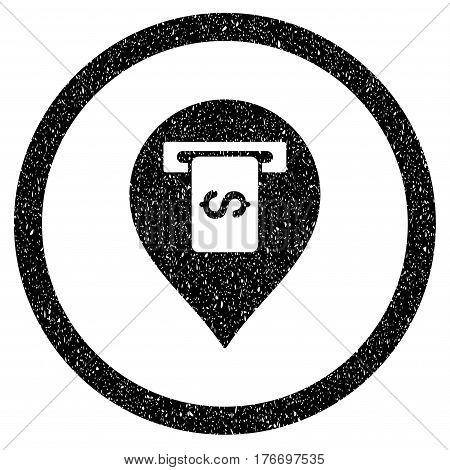 Rounded Cash Terminal Pointer rubber seal stamp watermark. Icon symbol inside circle with grunge design and dirty texture. Unclean vector black sticker.