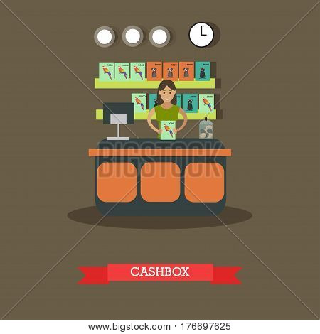 Pet shop cashbox vector illustration. Young saleswoman standing at counter, food for birds, dogs and cats on shelves, pets supplies, flat style design elements.