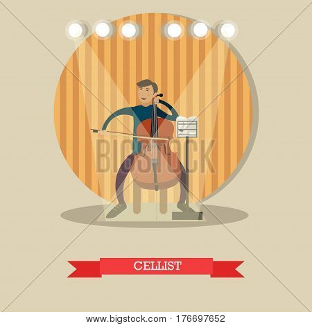 Vector illustration of young musician playing cello. Cellist playing classical music flat style design element.